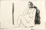 Petit Nu Assis au Miroir. Nude Girl Seated in front of a Mirror. 1947.